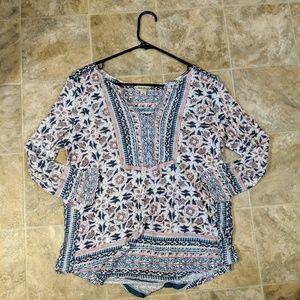 Lucky Brand Stretchable Cute Blouse w/ Design Med